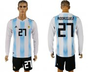 Wholesale Cheap Argentina #27 Rodriguez Home Long Sleeves Soccer Country Jersey