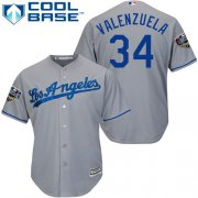 Wholesale Cheap Dodgers #34 Fernando Valenzuela Grey Cool Base 2018 World Series Stitched Youth MLB Jersey