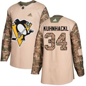 Wholesale Cheap Adidas Penguins #34 Tom Kuhnhackl Camo Authentic 2017 Veterans Day Stitched NHL Jersey