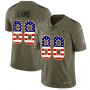 Wholesale Cheap Nike Cowboys #88 CeeDee Lamb Olive/USA Flag Youth Stitched NFL Limited 2017 Salute To Service Jersey