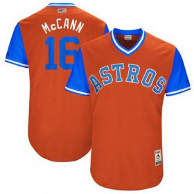 "Wholesale Cheap Astros #16 Brian McCann Orange ""McCann\"" Players Weekend Authentic Stitched MLB Jersey"