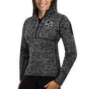 Wholesale Cheap Los Angeles Kings Antigua Women's Fortune 1/2-Zip Pullover Sweater Charcoal