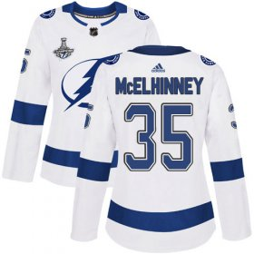 Cheap Adidas Lightning #35 Curtis McElhinney White Road Authentic Women\'s 2020 Stanley Cup Champions Stitched NHL Jersey