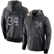 Wholesale Cheap NFL Men's Nike Oakland Raiders #34 Bo Jackson Stitched Black Anthracite Salute to Service Player Performance Hoodie