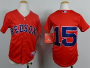 Wholesale Cheap Red Sox #15 Dustin Pedroia Red Cool Base Stitched Youth MLB Jersey
