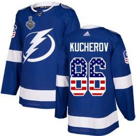 Wholesale Cheap Adidas Lightning #86 Nikita Kucherov Blue Home Authentic USA Flag 2020 Stanley Cup Final Stitched NHL Jersey