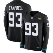 Wholesale Cheap Nike Jaguars #93 Calais Campbell Black Team Color Men's Stitched NFL Limited Therma Long Sleeve Jersey