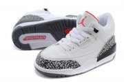 Wholesale Cheap Air Jordan 3 Kids Shoes White/gray cement-red