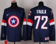 Wholesale Cheap Olympic Team USA #72 Justin Faulk Navy Blue Captain America Fashion Stitched NHL Jersey