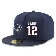 Wholesale Cheap New England Patriots #12 Tom Brady Snapback Cap NFL Player Navy Blue with White Number Stitched Hat
