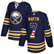 Wholesale Cheap Adidas Sabres #7 Rick Martin Navy Blue Home Authentic USA Flag Stitched NHL Jersey