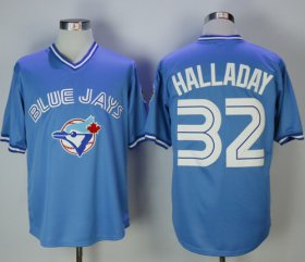 Wholesale Cheap Blue Jays #32 Roy Halladay Light Blue Cooperstown Throwback Stitched MLB Jersey
