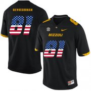Wholesale Cheap Missouri Tigers 81 Albert Okwuegbunam Black USA Flag Nike College Football Jersey