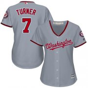 Wholesale Cheap Nationals #7 Trea Turner Grey Road Women's Stitched MLB Jersey