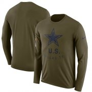 Wholesale Cheap Men's Dallas Cowboys Nike Olive Salute to Service Sideline Legend Performance Long Sleeve T-Shirt
