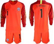 Wholesale Cheap Chile #1 C.Bravo Red Goalkeeper Long Sleeves Soccer Country Jersey