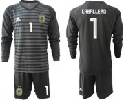 Wholesale Cheap Argentina #1 Caballero Black Long Sleeves Goalkeeper Soccer Country Jersey