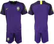 Wholesale Cheap Brazil Blank Purple Goalkeeper Soccer Country Jersey
