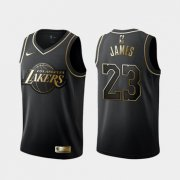 Wholesale Cheap Lakers 23 Lebron James Black Gold Nike Swingman Jersey