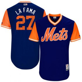 "Wholesale Cheap Mets #27 Jeurys Familia Royal ""La Fama\"" Players Weekend Authentic Stitched MLB Jersey"