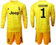 Wholesale Cheap Juventus #1 Szczesny Yellow Goalkeeper Long Sleeves Soccer Club Jersey