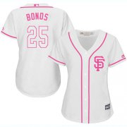 Wholesale Cheap Giants #25 Barry Bonds White/Pink Fashion Women's Stitched MLB Jersey