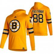 Wholesale Cheap Boston Bruins #88 David Pastrnak Adidas Reverse Retro Pullover Hoodie Gold