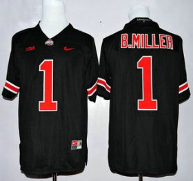 Wholesale Cheap Men\'s Ohio State Buckeyes #1 Baxton Miller Black With Orange College Football Nike Limited Jersey