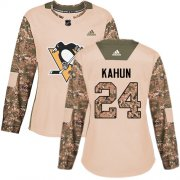 Wholesale Cheap Adidas Penguins #24 Dominik Kahun Camo Authentic 2017 Veterans Day Women's Stitched NHL Jersey