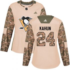 Wholesale Cheap Adidas Penguins #24 Dominik Kahun Camo Authentic 2017 Veterans Day Women\'s Stitched NHL Jersey