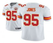Wholesale Cheap Men's Kansas City Chiefs #95 Chris Jones White 2021 Super Bowl LV Limited Stitched NFL Jersey