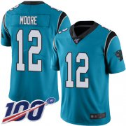 Wholesale Cheap Nike Panthers #12 DJ Moore Blue Alternate Men's Stitched NFL 100th Season Vapor Limited Jersey