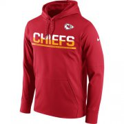 Wholesale Cheap Men's Kansas City Chiefs Nike Red Sideline Circuit Pullover Performance Hoodie