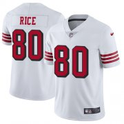 Wholesale Cheap Nike 49ers #80 Jerry Rice White Rush Men's Stitched NFL Vapor Untouchable Limited Jersey