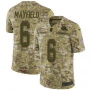Wholesale Cheap Nike Browns #6 Baker Mayfield Camo Youth Stitched NFL Limited 2018 Salute to Service Jersey