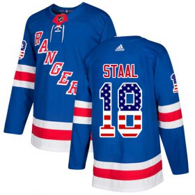 Wholesale Cheap Adidas Rangers #18 Marc Staal Royal Blue Home Authentic USA Flag Stitched Youth NHL Jersey