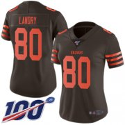 Wholesale Cheap Nike Browns #80 Jarvis Landry Brown Women's Stitched NFL Limited Rush 100th Season Jersey