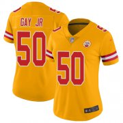 Wholesale Cheap Nike Chiefs #50 Willie Gay Jr. Gold Women's Stitched NFL Limited Inverted Legend Jersey
