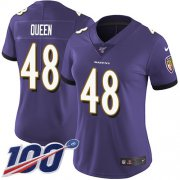 Wholesale Cheap Nike Ravens #48 Patrick Queen Purple Team Color Women's Stitched NFL 100th Season Vapor Untouchable Limited Jersey