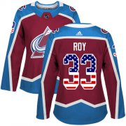 Wholesale Cheap Adidas Avalanche #33 Patrick Roy Burgundy Home Authentic USA Flag Women's Stitched NHL Jersey