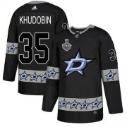 Wholesale Cheap Adidas Stars #35 Anton Khudobin Black Authentic Team Logo Fashion 2020 Stanley Cup Final Stitched NHL Jersey