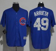Wholesale Cheap Cubs #49 Jake Arrieta Blue 2017 Spring Training Authentic Flex Base Stitched MLB Jersey