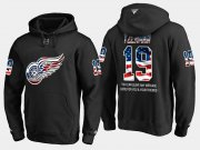 Wholesale Cheap Red Wings #19 Steve Yzerman NHL Banner Wave Usa Flag Black Hoodie