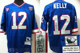 Wholesale Cheap Mitchell And Ness Autographed Bills #12 Jim Kelly Blue(35th) Stitched Throwback NFL Jersey