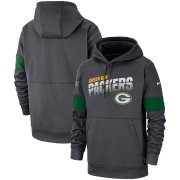 Wholesale Cheap Green Bay Packers Nike Sideline Team Logo Performance Pullover Hoodie Anthracite