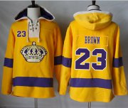 Wholesale Cheap Kings #23 Dustin Brown Gold Sawyer Hooded Sweatshirt Stitched NHL Jersey