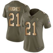 Wholesale Cheap Nike Vikings #21 Mike Hughes Olive/Gold Women's Stitched NFL Limited 2017 Salute to Service Jersey