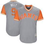 "Wholesale Cheap Giants #9 Brandon Belt Gray ""Belt"" Players Weekend Authentic Stitched MLB Jersey"