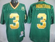 Wholesale Cheap Notre Dame Fighting Irish #3 Joe Montana Green Throwback Jersey