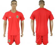 Wholesale Cheap Sweden Blank Red Goalkeeper Soccer Country Jersey